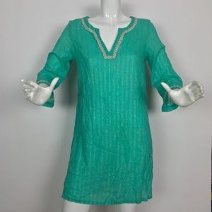 Lilly Pulitzer Top Blouse Tunic Sheer Teal Size M
